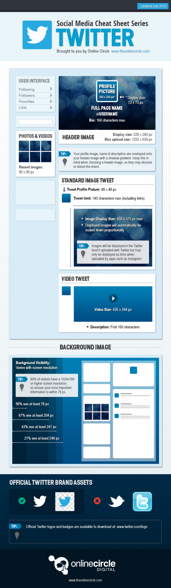 Online Circle Digital | Twitter Sizes and Dimensions Cheat Sheet 2013