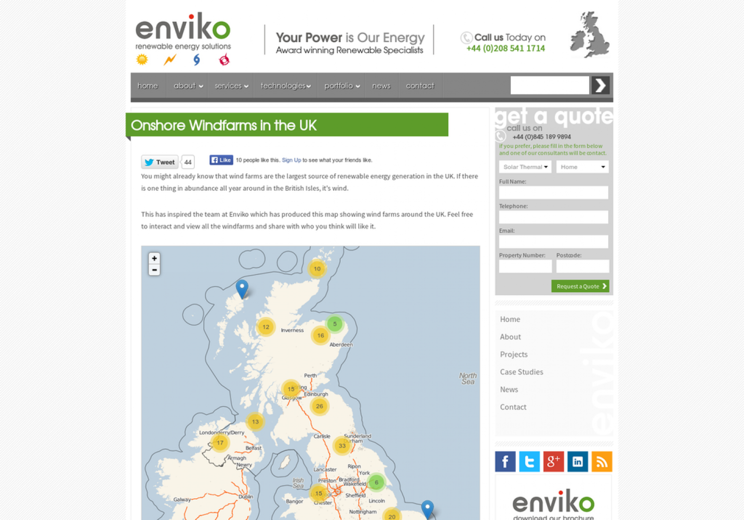 Onshore Windfarms in the UK Infographic