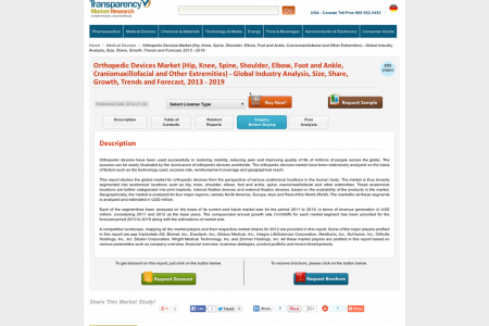 Orthopedic Devices Market Expected to Reach USD 41.2 Billion Globally in 2019: Transparency Market Research  Infographic