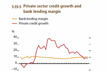 Papua New Guinea : Private sector credit growth and bank lending margin Infographic