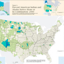 Percent of American Indian and Alaska Native Alone or in Combination: 2000 Infographic