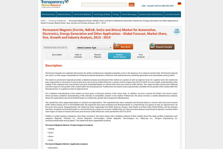 Permanent Magnet Market is Expected to Reach USD 28.70 Billion in 2019: Transparency Market Research  Infographic