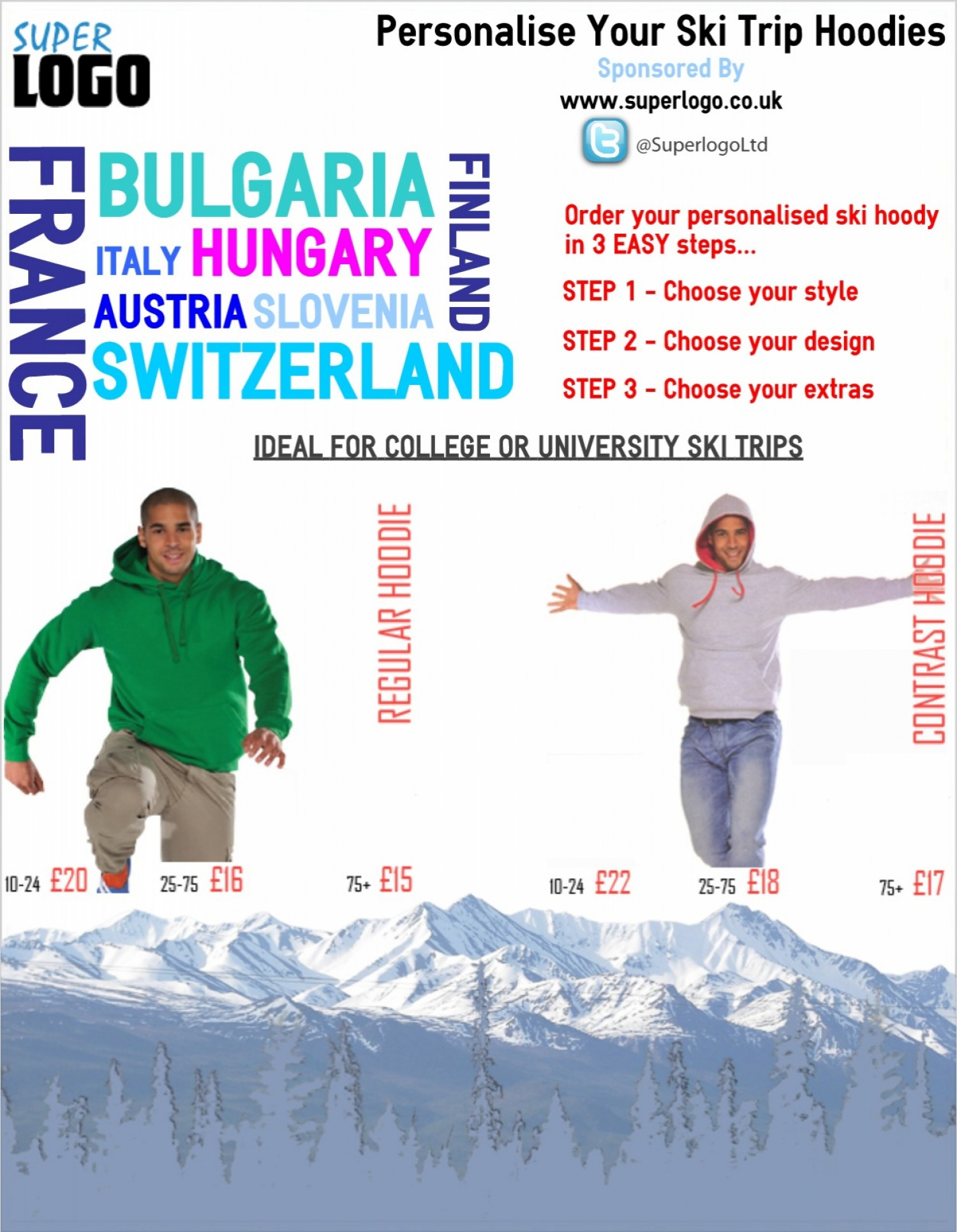 Personalise Your Ski Trip Hoodies Infographic