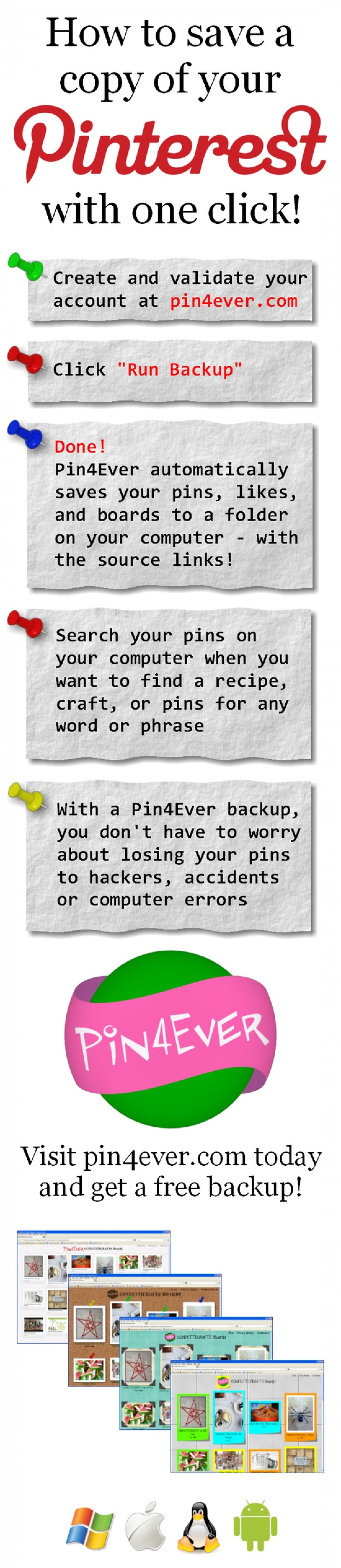 Pin4Ever Pinterest Account Backup Service Infographic