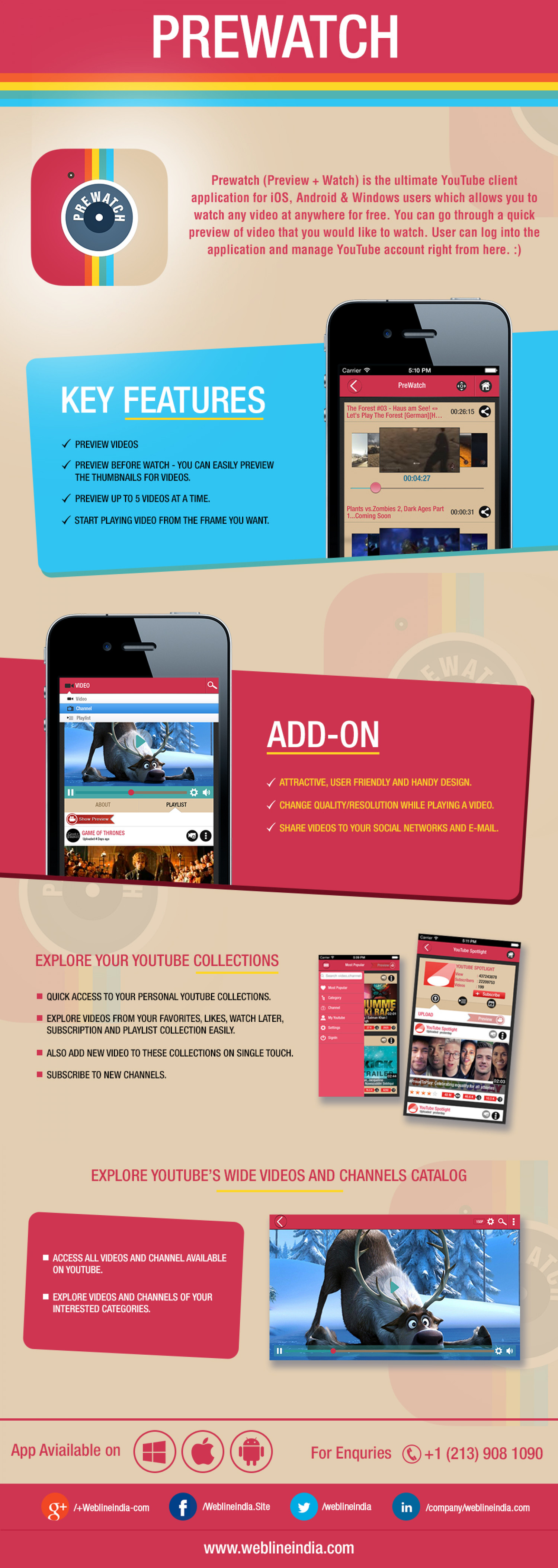 Prewatch App for iOS, Android and Windows Devices Infographic