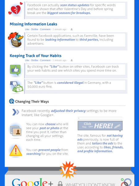 Privacy in Facebook vs Google+ Infographic