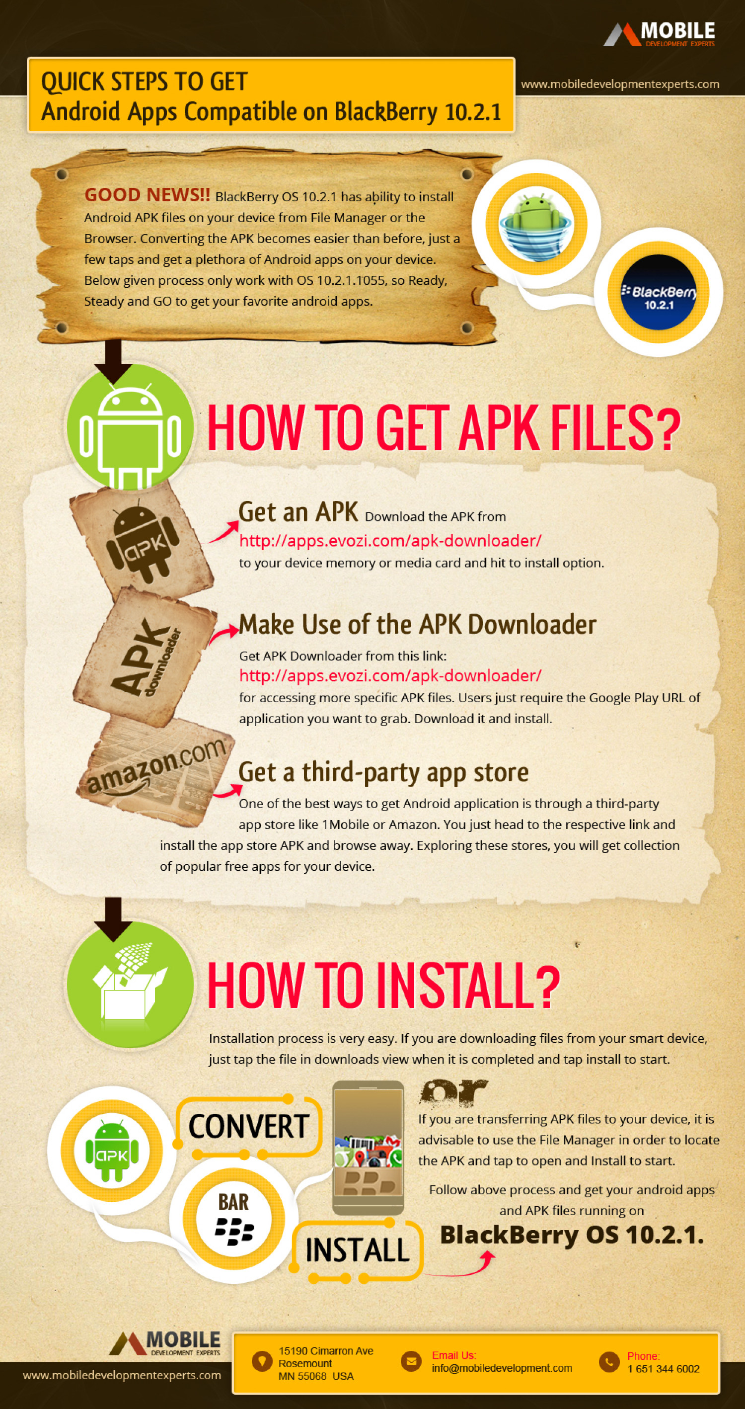 Quick Steps to Get Android Apps and APK files Compatible on BlackBerry OS 10.2.1 Infographic