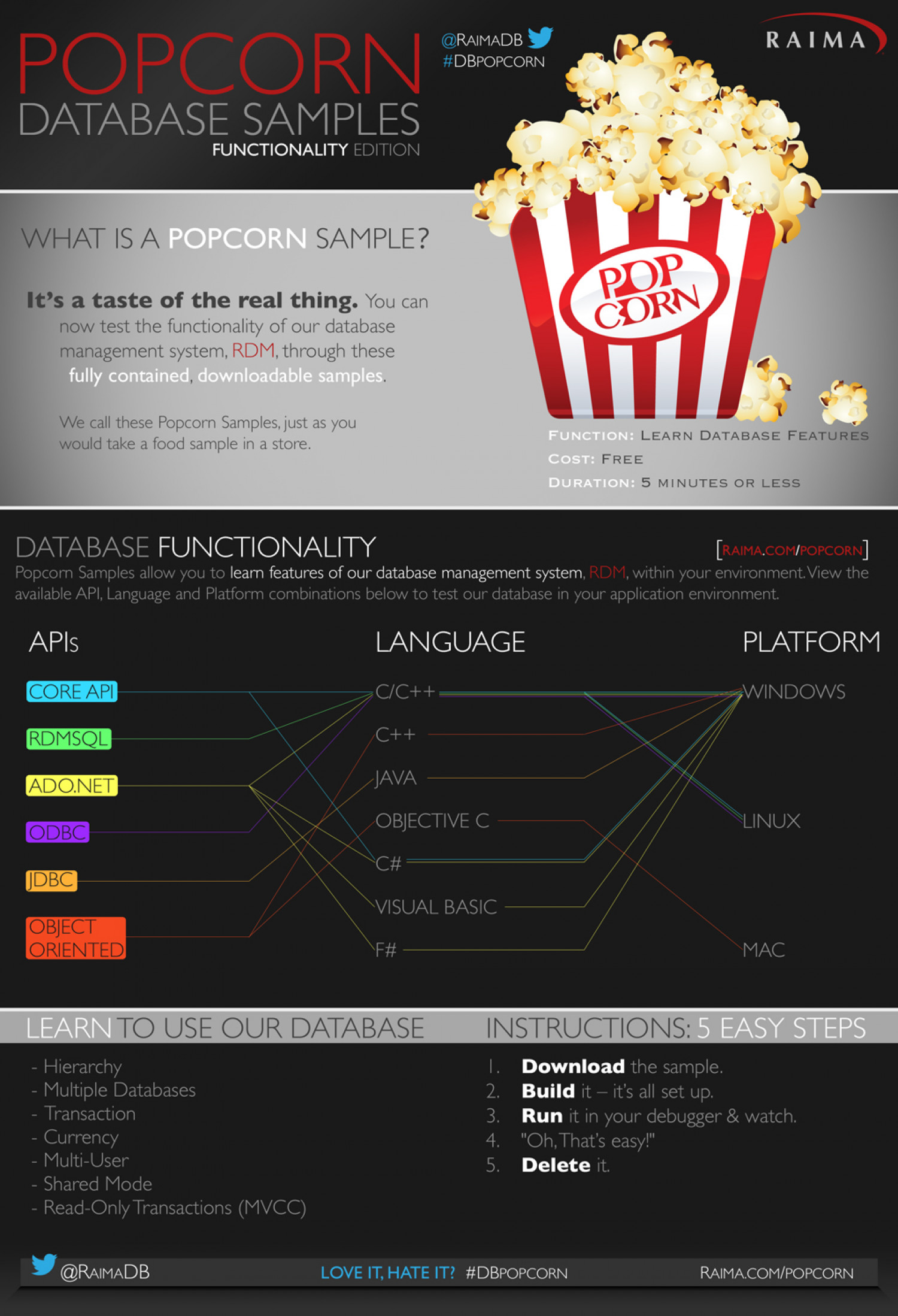 Raima Database Functionality Tutorials Infographic