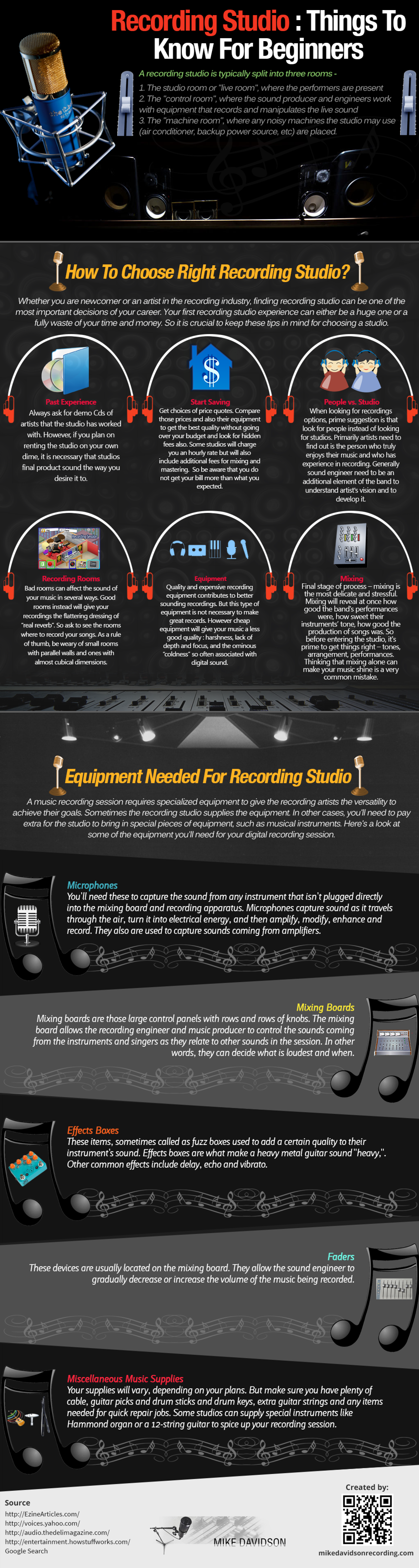 Recording Studio : Things To Know For Beginners Infographic