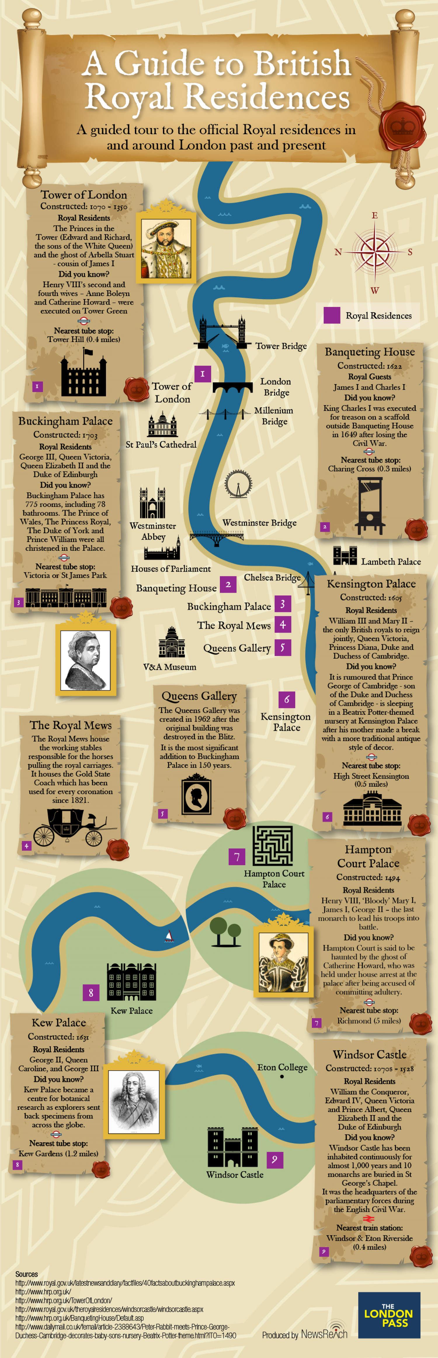 Royal residences in London Infographic