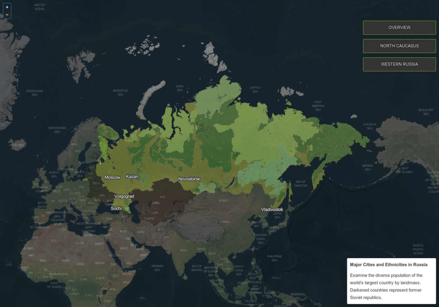 Russia ethnicities and major cities map Infographic