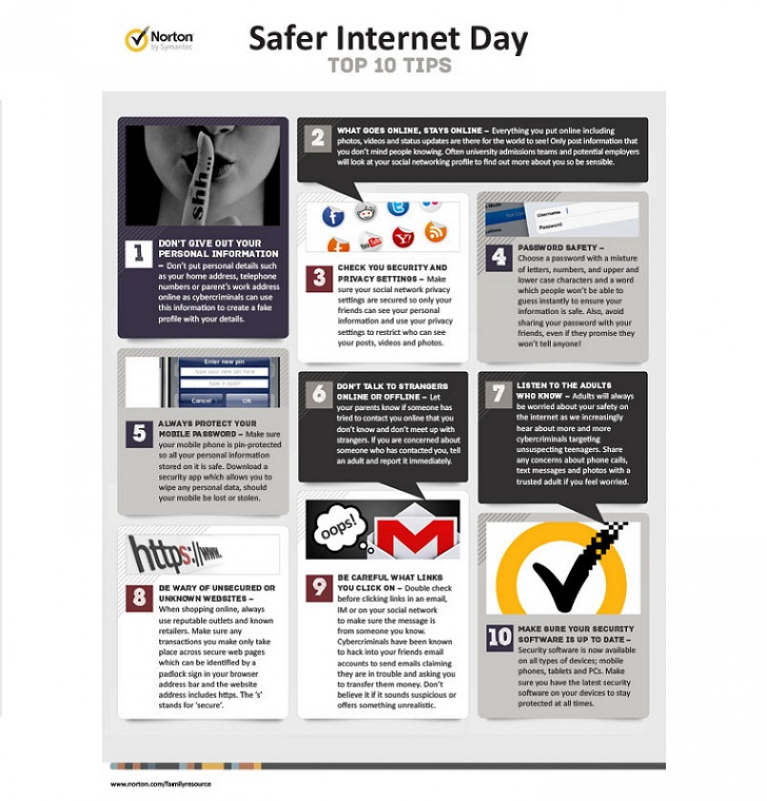 Safer Internet Day - Norton's Top 10 Tips Infographic