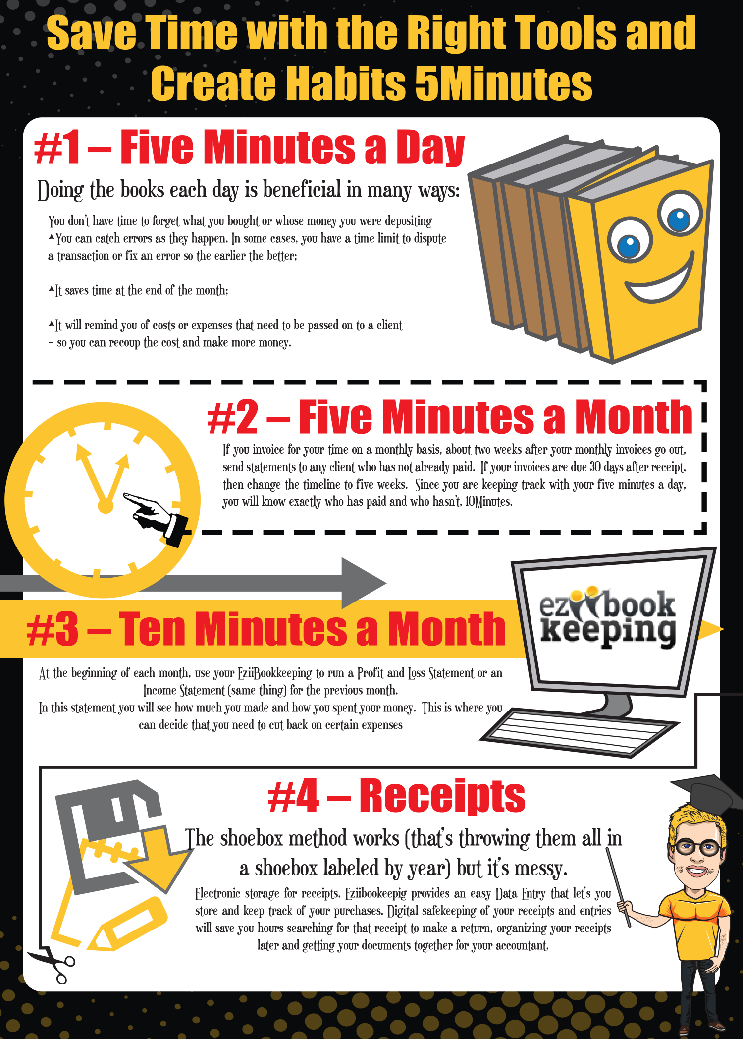 Save Time With the Right Tools and Create Habits 5 Minutes Infographic