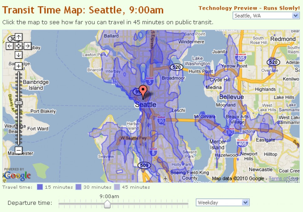 Seattle Map: How Far Can You Get in 45 Minutes? Infographic