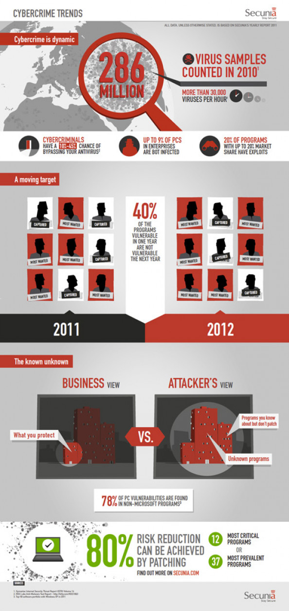 Secunia&#039;s Cybercrime Trends in Business Infographic