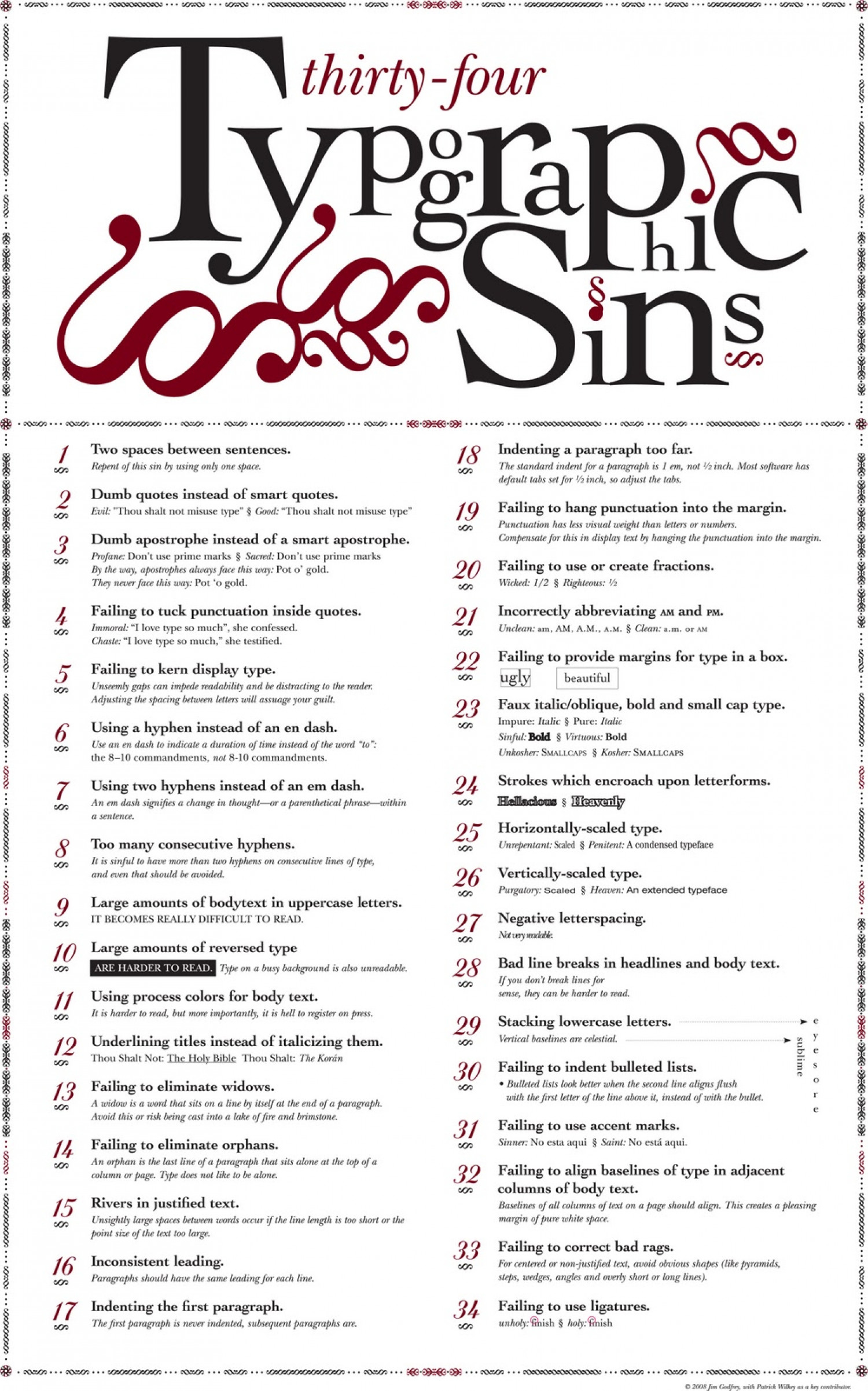 Sins Of Typography Infographic