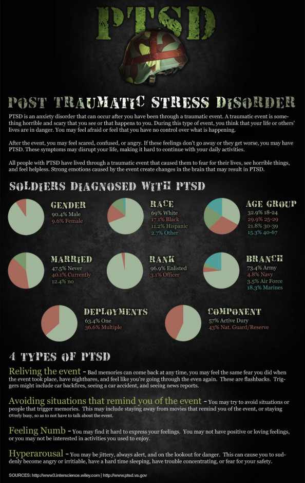 Soldiers & Post Traumatic Stress Disorder (PTSD) Infographic