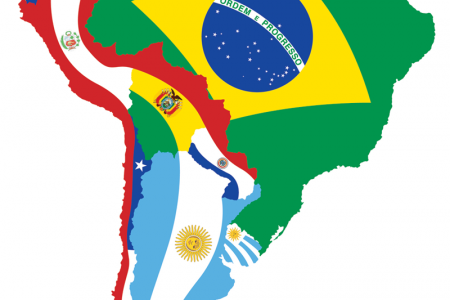 South American Flag Map Infographic