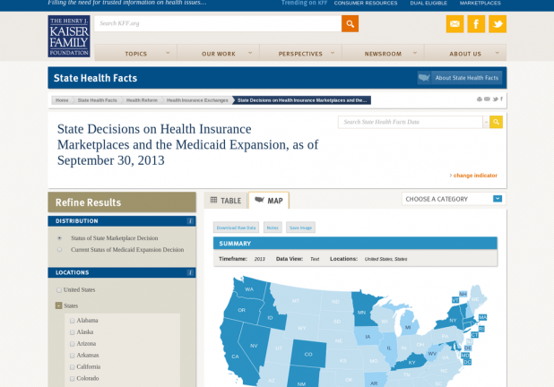 State Decisions on Health Insurance Marketplaces and the Medicaid Expansion