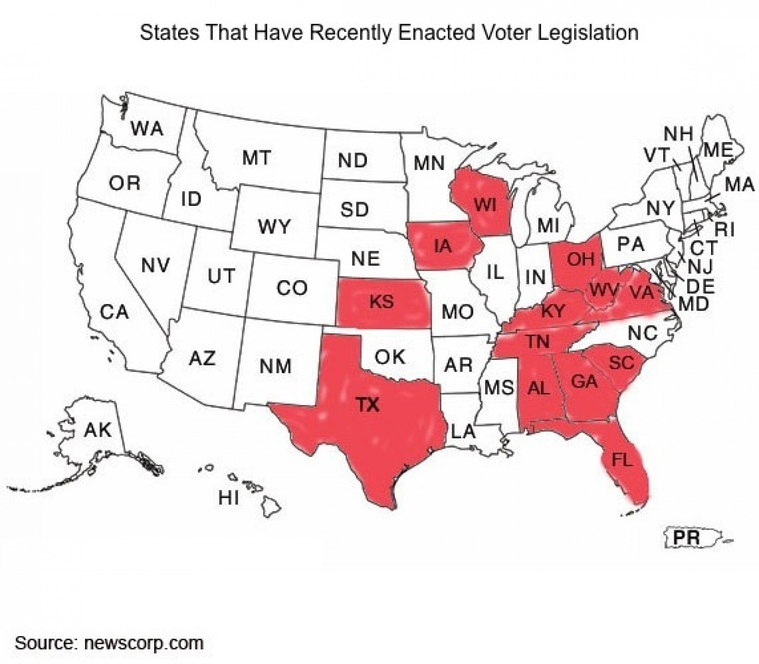 States With Voter Legislation Infographic