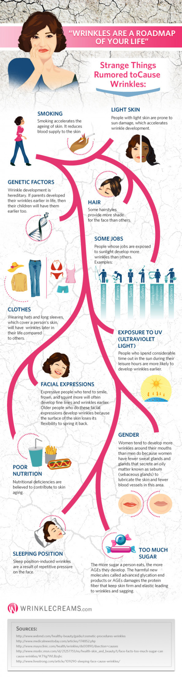 Strange Things Rumored to Cause Wrinkles Infographic