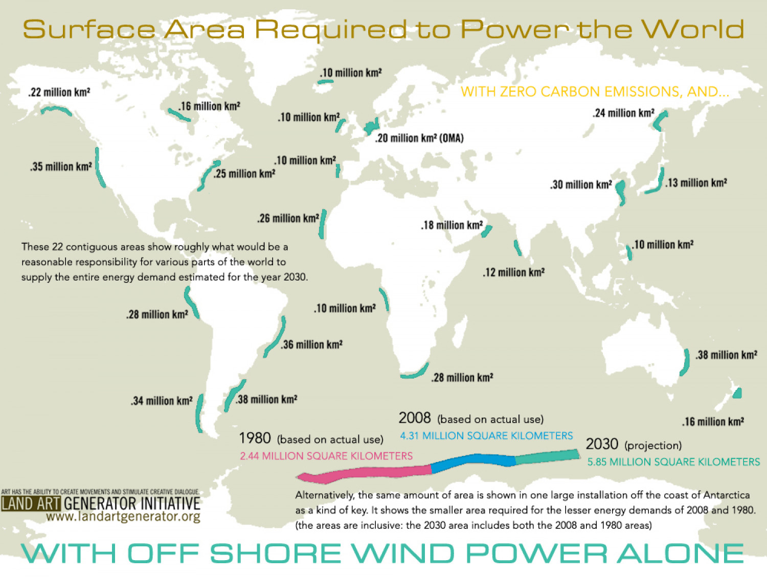 Surface Area Required to Power the World  Infographic