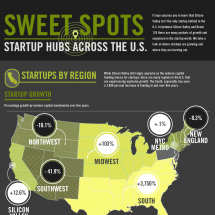 Sweet Spots: Startup Hubs Across the U.S. Infographic