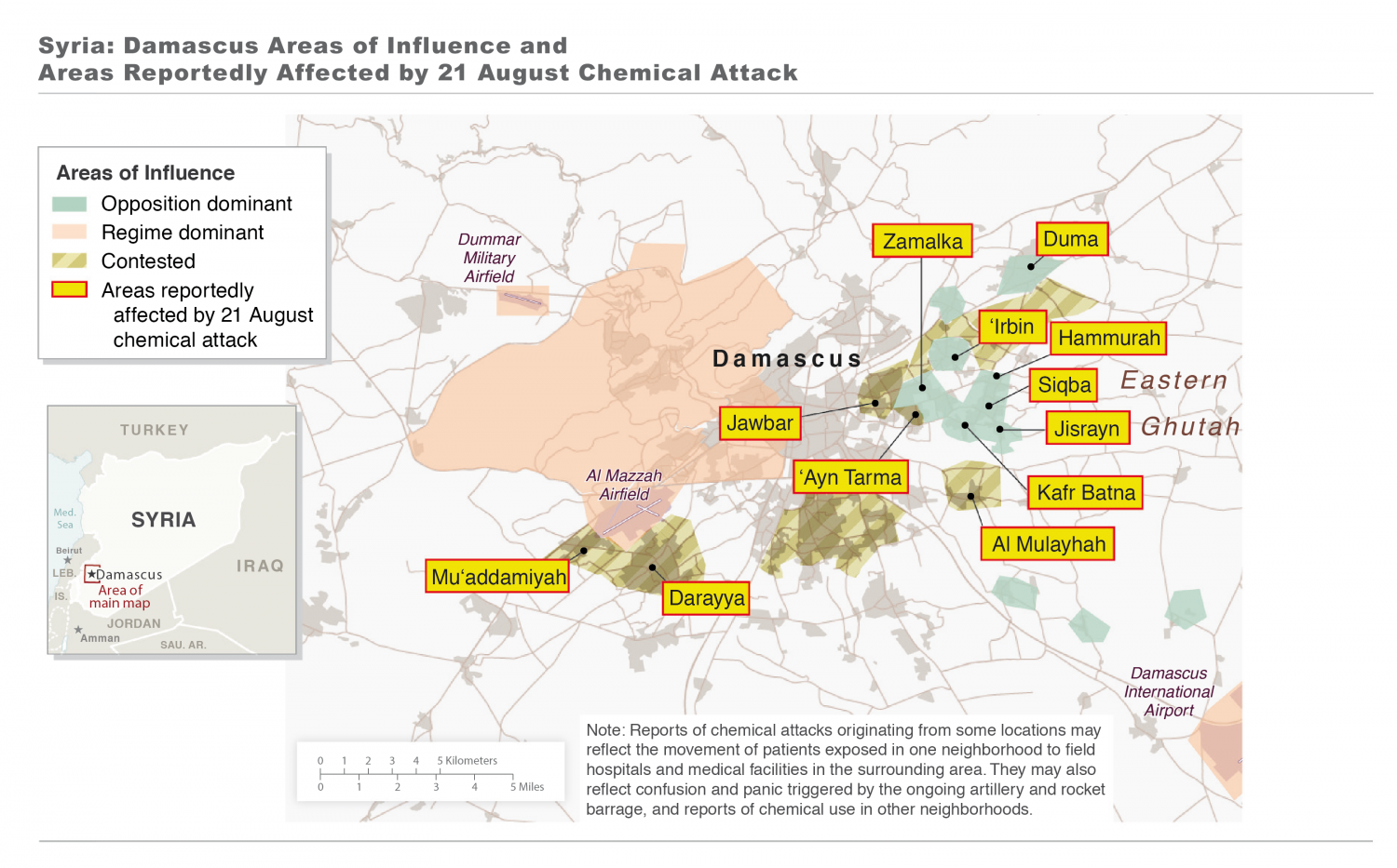 Syria: Damascus Areas of Influence and Areas Reportedly Affected by 21 August Chemical Attack Infographic