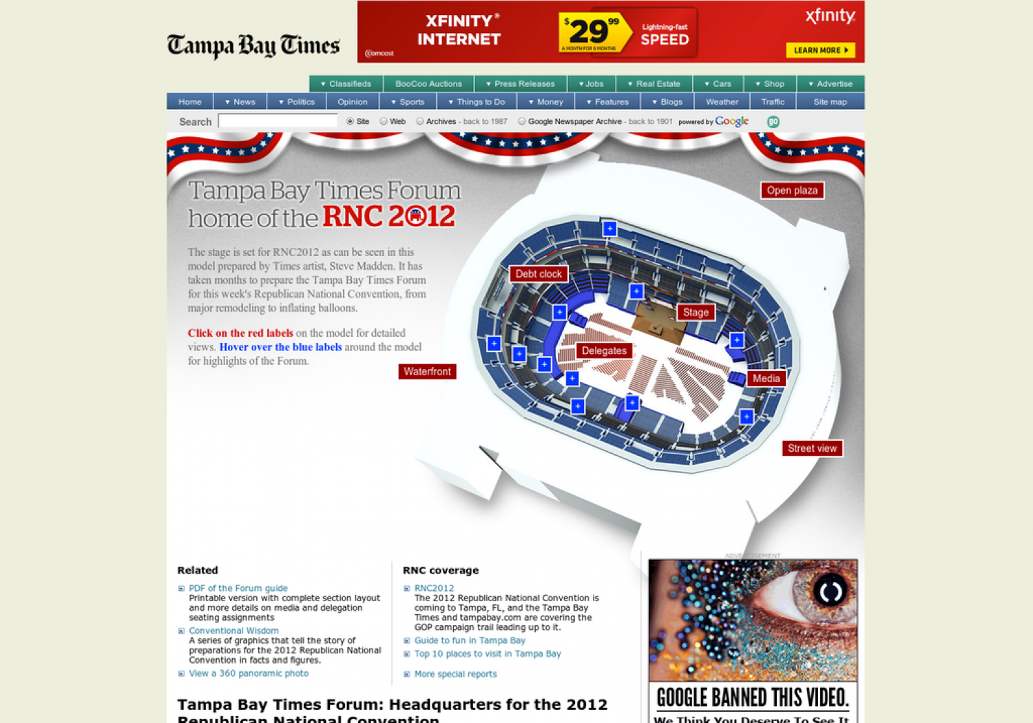 Tampa Bay Times Forum: Headquarters for the 2012 Republican National Convention Infographic