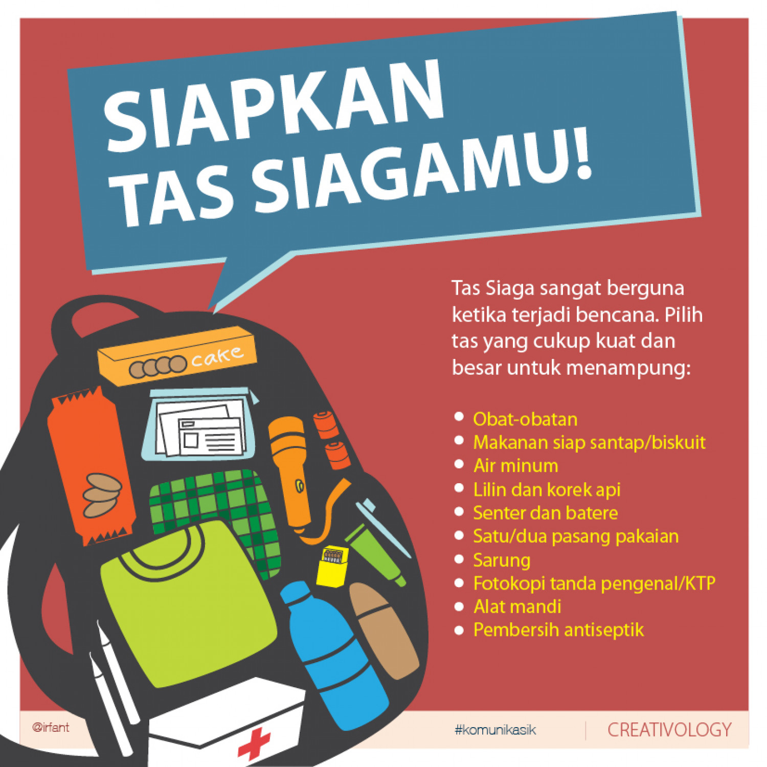 Tas Siaga - Grab Bag for Disaster Preparedness Infographic