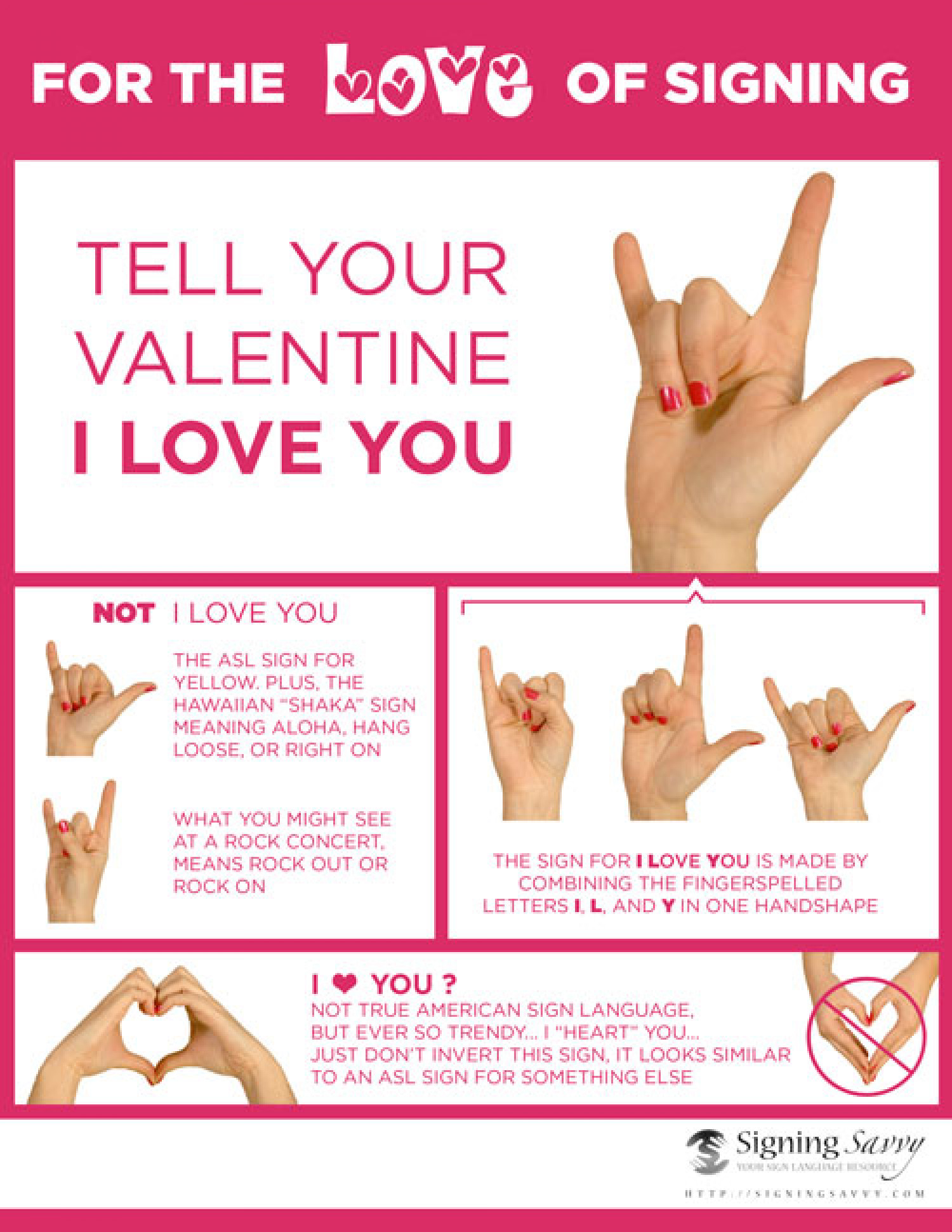 Tell your Valentine I Love You in American Sign Language (ASL) Infographic