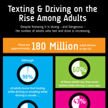 Texting & Driving on the Rise Among Adults Infographic
