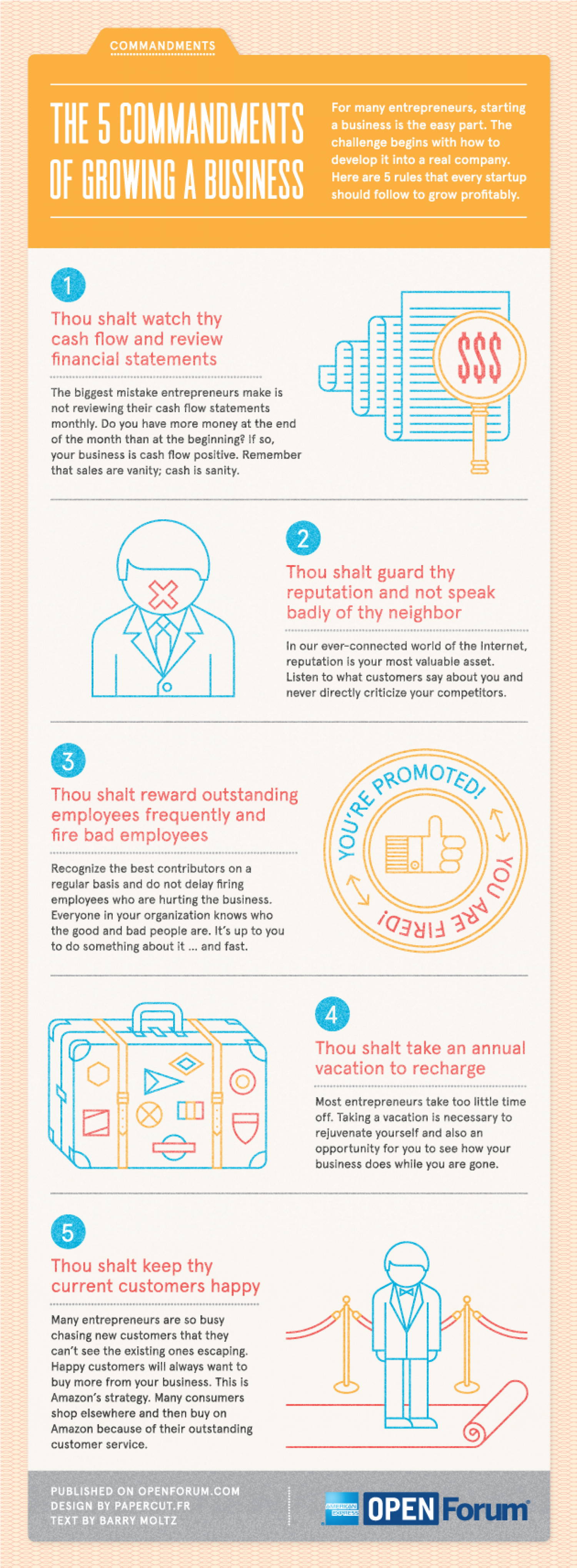 The 5 Commandments of Growing a Business Infographic