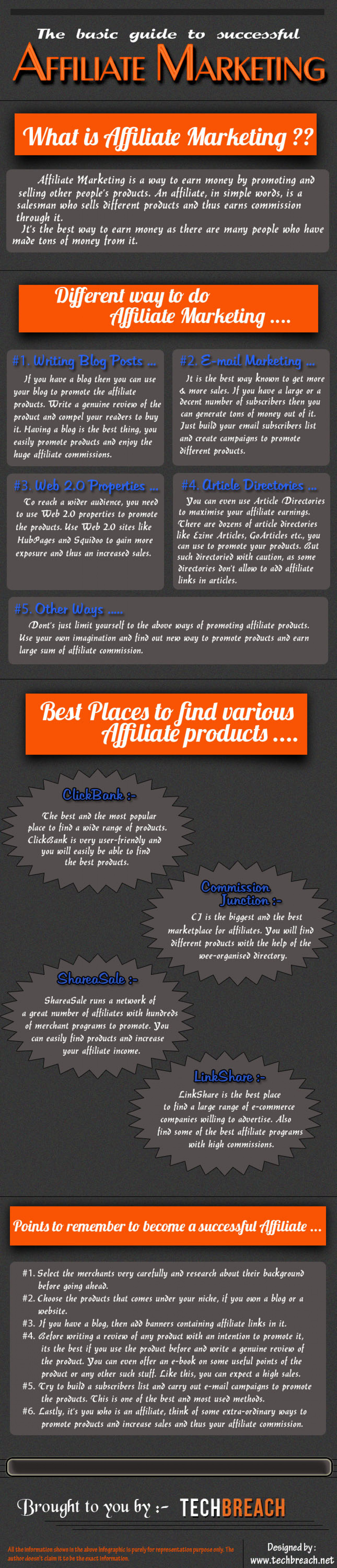 The basic guide to successful Affiliate Marketing. Infographic