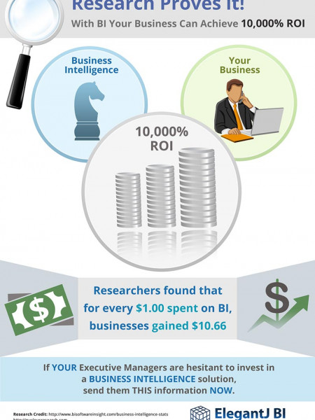 The facts don't lie! Research shows a 10,000% ROI for businesses that implement BI Infographic