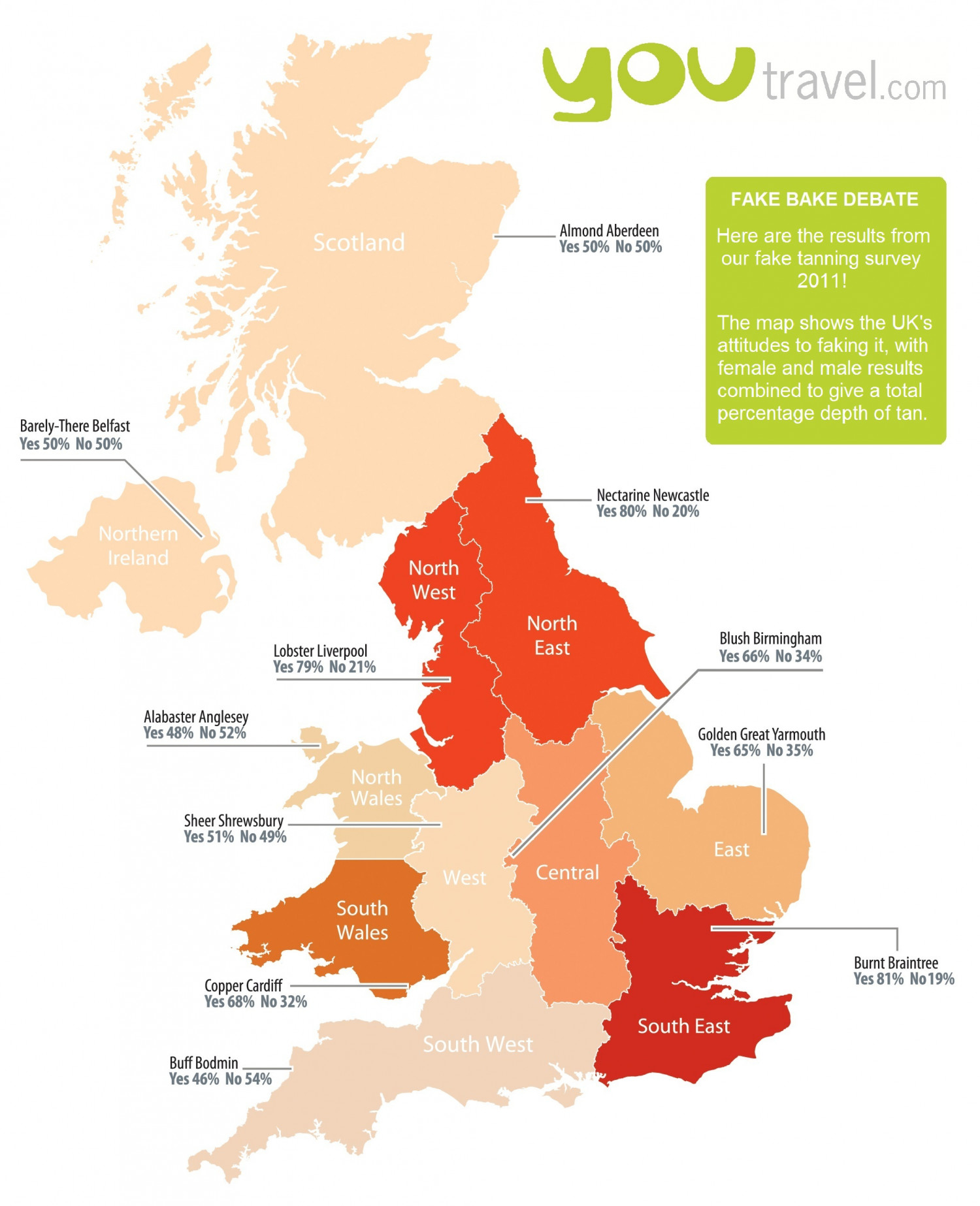 The Fake Bake Debate - UK Tanning Map 2011 Infographic