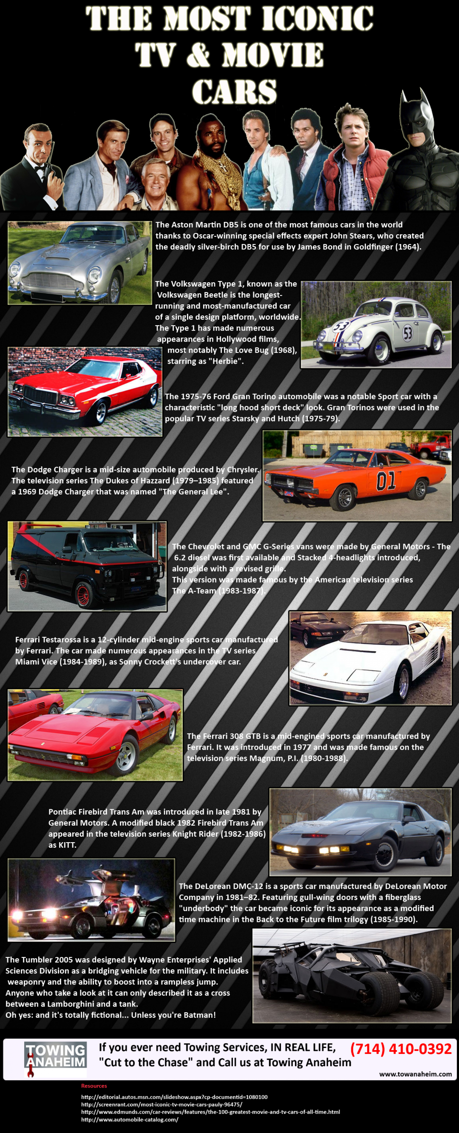 The Most Iconic TV & Movie Cars Infographic