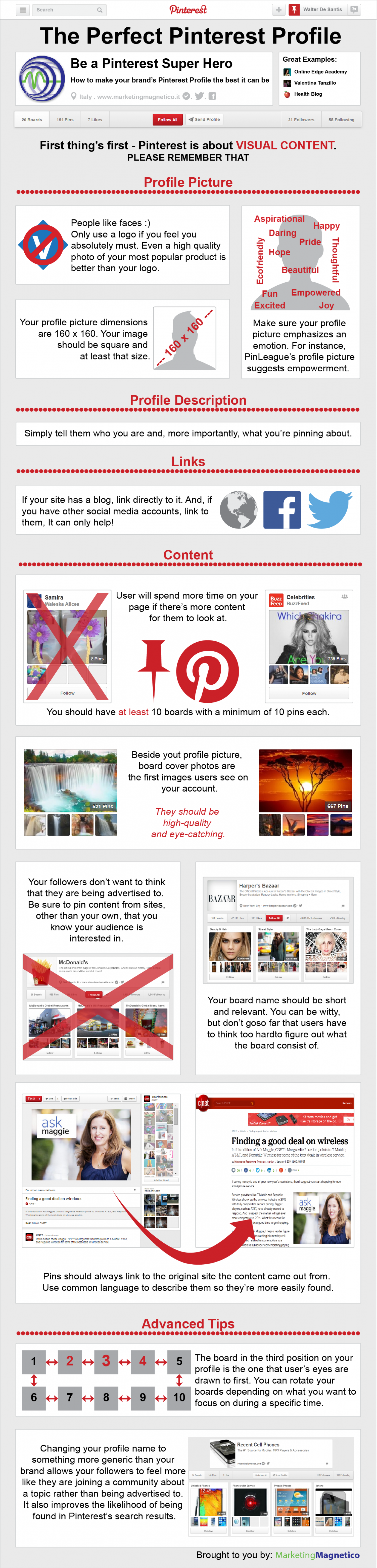 The Perfect Pinterest Profile Infographic