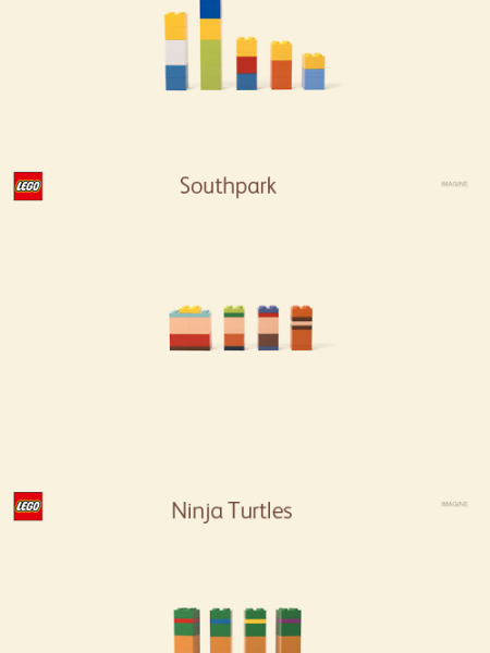 The Simpsons, South Park, and Ninja Turtles LEGOS Infographic