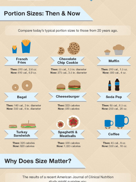 The Skinny on Food Portion Sizes: Portion Control Tips to Prevent Weight Gain Infographic
