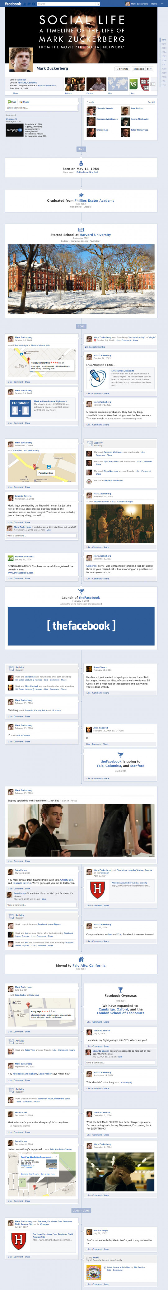 The Social Network: Zuck�s Timeline