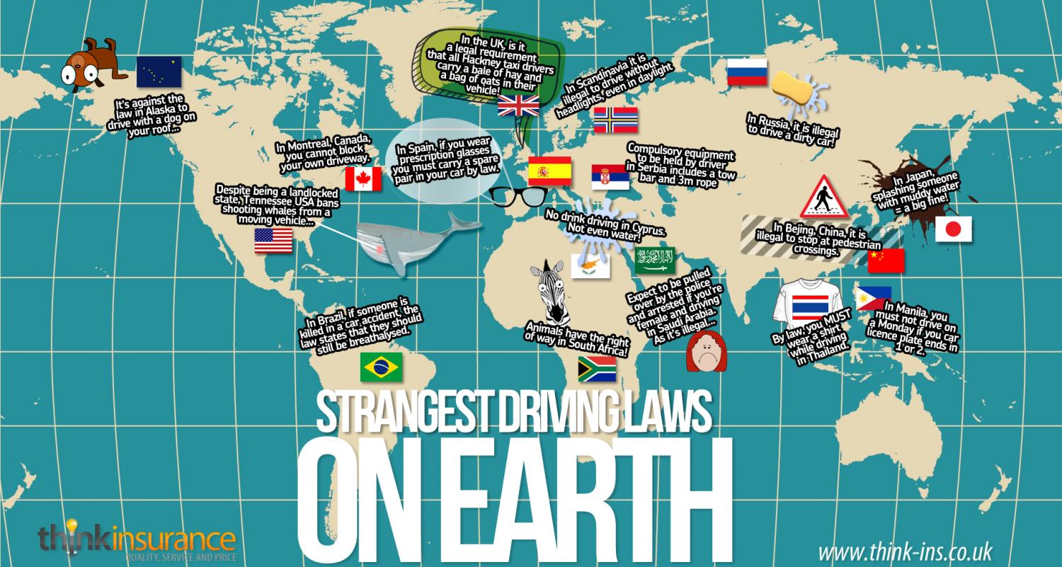 The Strangest Driving Laws On Earth Infographic