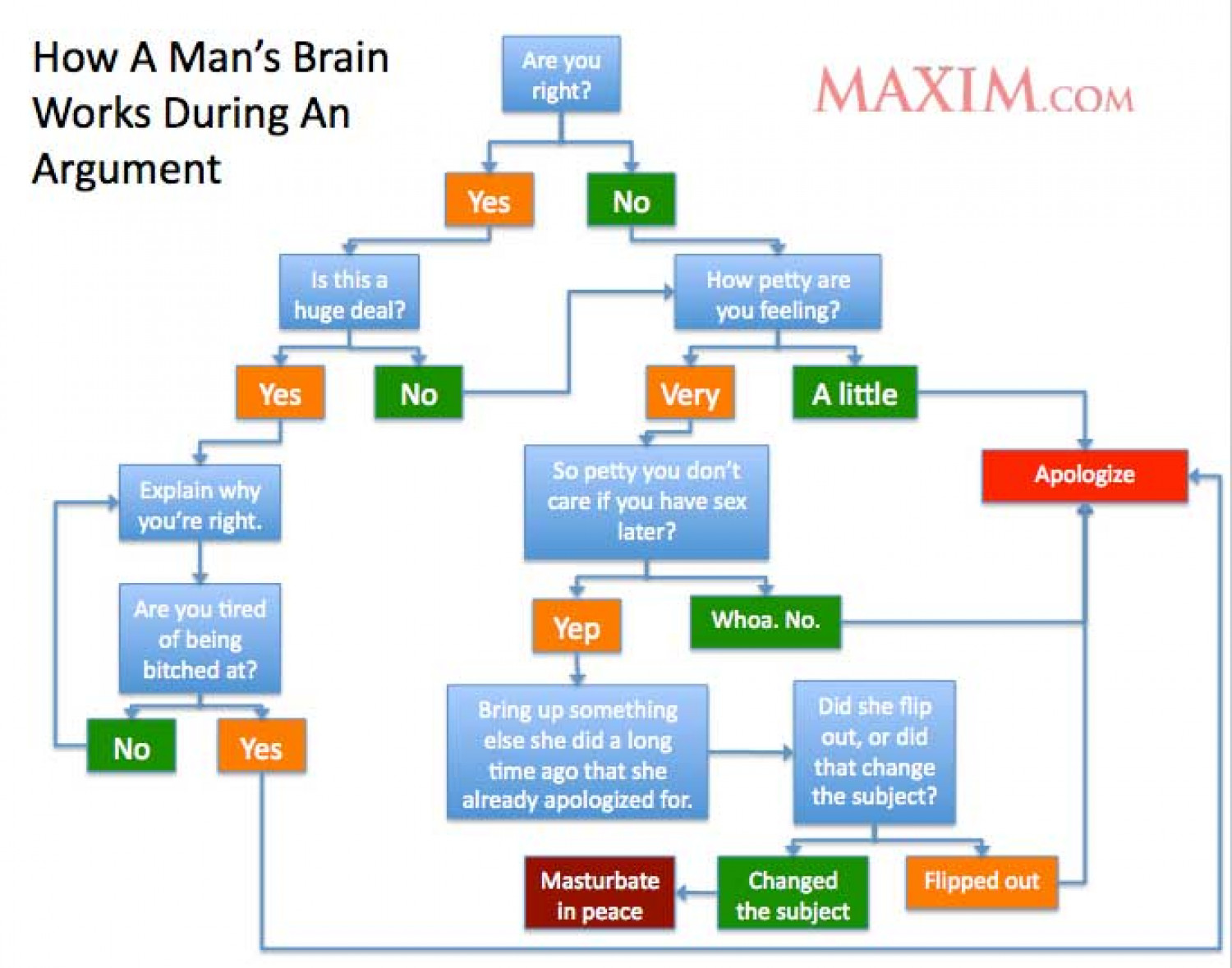 The Thought Process of a Man During an Argument  Infographic