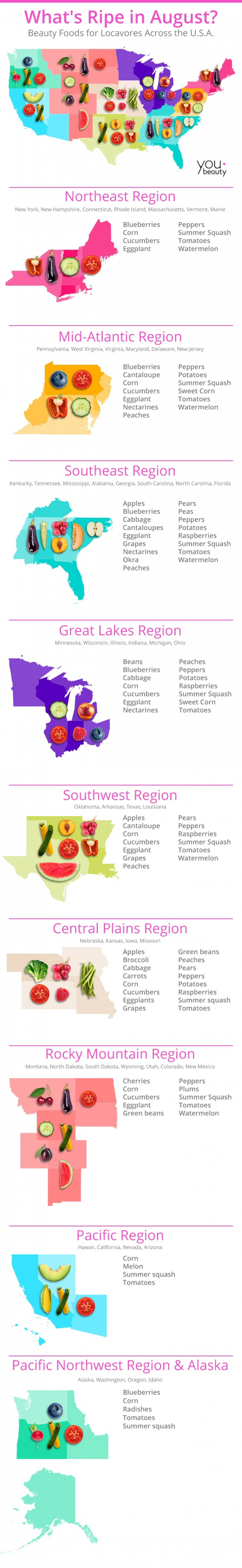 The United States of Beauty Foods Infographic