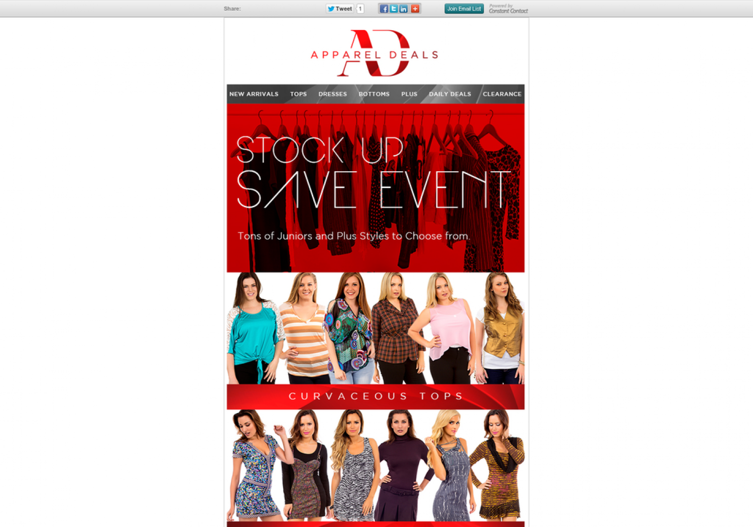 Tons Of Junior & Plus size clothing At Appareldeals Infographic