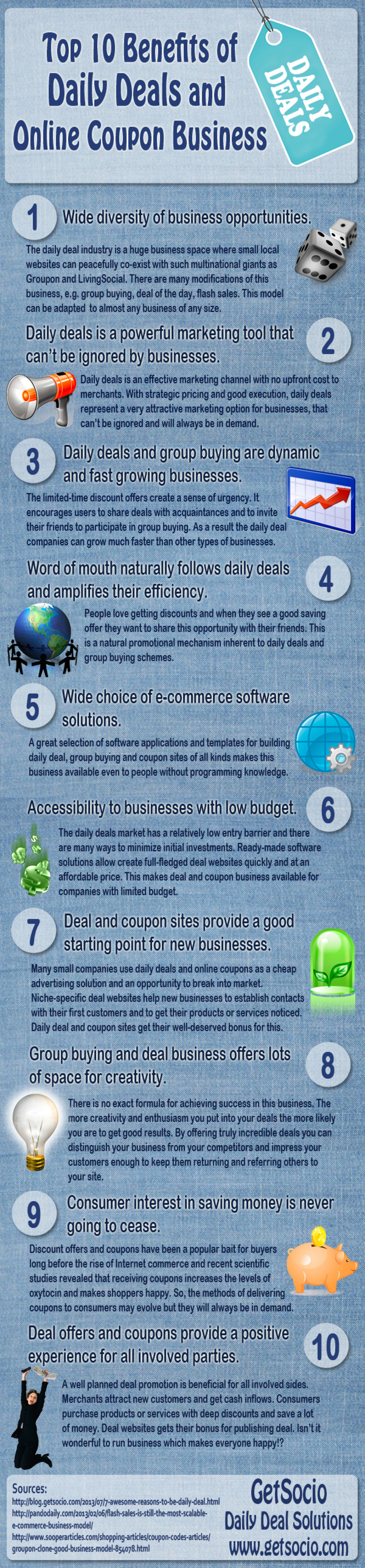 Top 10 Benefits of Daily Deals and Online Coupon Business Infographic