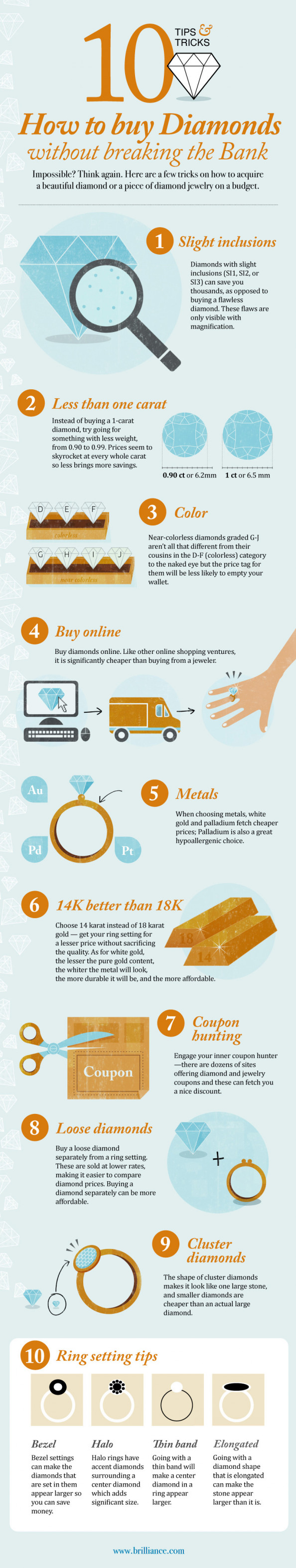 Top 10 Diamond Buying Tips to save You $$$$4 Infographic