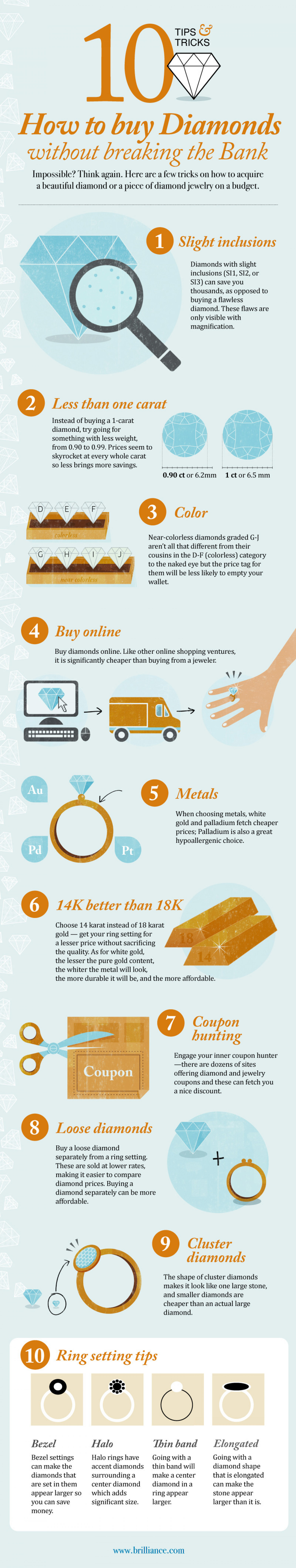 Top 10 Diamond Buying Tips Infographic