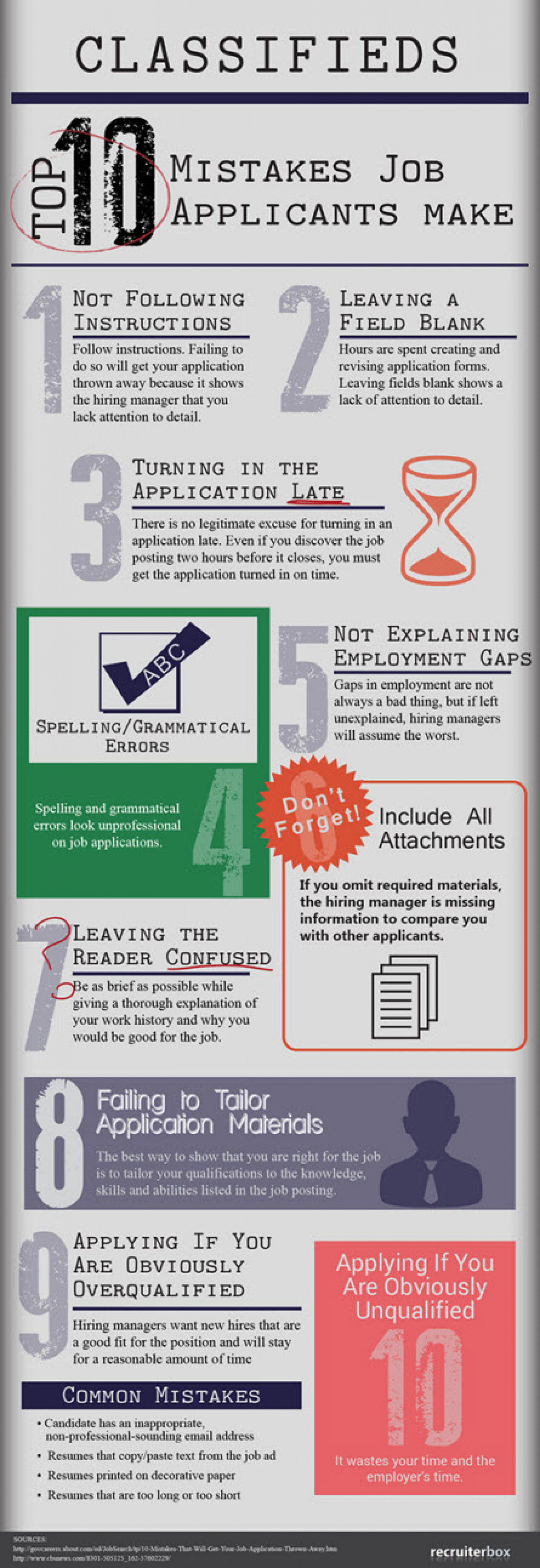 Top 10 Mistakes Job Applicants Make Infographic