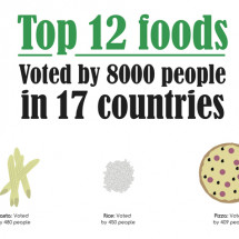 Top 12 foods over 17 countries Infographic